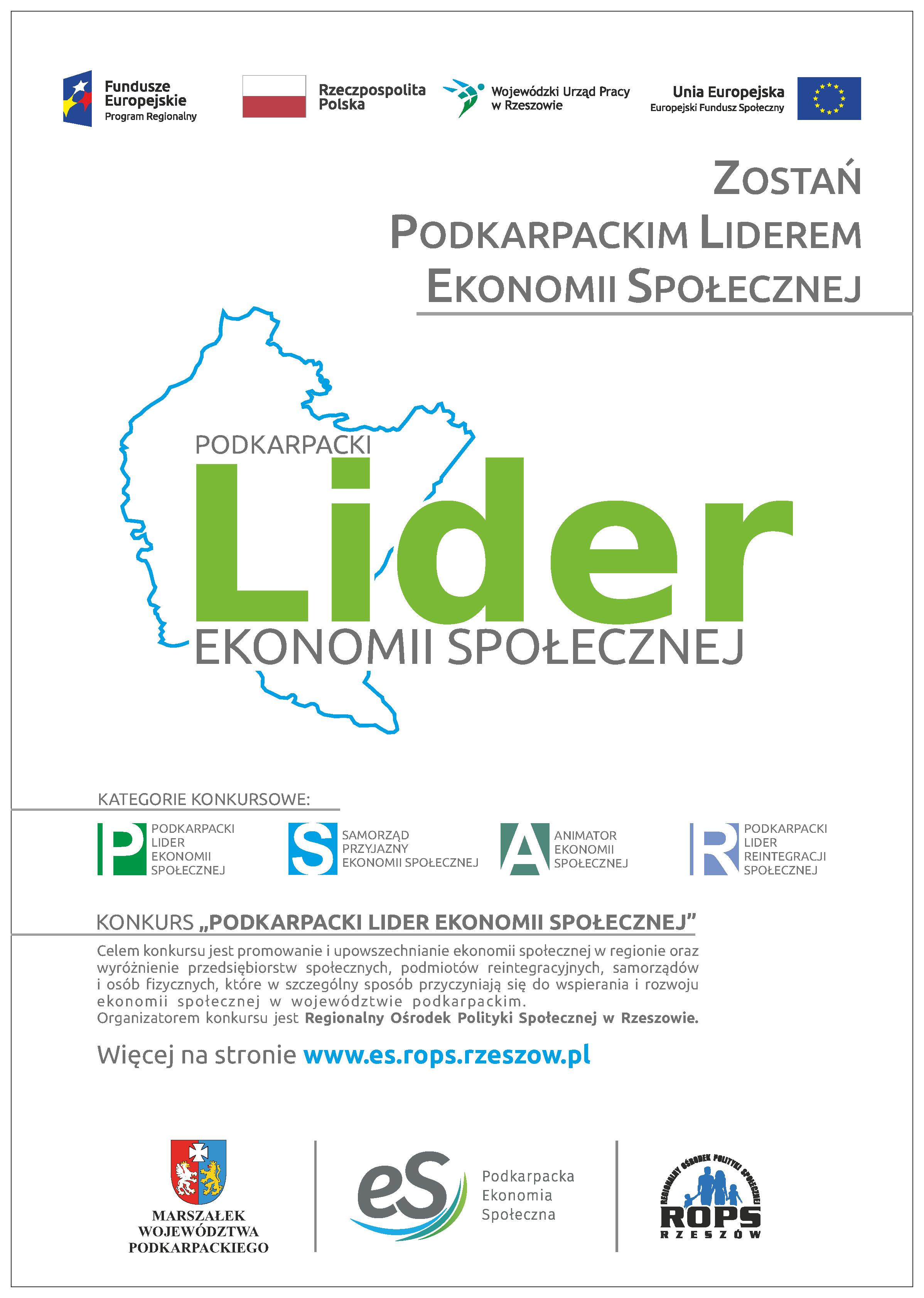 Plakat informujący o konkursie Podkarpacki Lider Ekonomii Społecznej